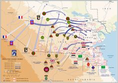 A map showing a large allied force sweeping north and then east through the desert in southern Iraq and in Kuwait