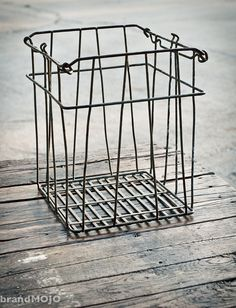 Vintage Wire Crate  13L x 12W x 15T  by brandmojointeriors on Etsy, $60.00