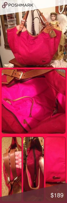 """😍 Dooney & Bourke huge shoulder duffel bag Purse Dooney & Bourke Burgundy red huge shoulder duffel bag Purse. In great condition except but at the end of the handle or curls. There is no tears holes and marks smoke odor Are discoloring that I couldn't find. Size is 22"""" long x 8""""wide x 13"""" high. Comes from a non-smoking home pet free. I ship within 24 hours Monday through Friday. If you have any questions please ask ask her! Dooney & Bourke Bags Shoulder Bags"""