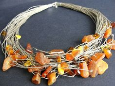 Necklace with Raw amber by BUSTANI on Etsy