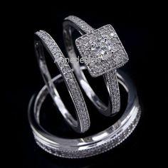 14K White Gold Round Cut Diamond Trio Wedding Engagement Ring Set Women & Men #aonedesigns #EngagementWeddingAnniversarypromisePartyGift