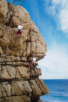 Rock climbing -- I'd love to do this one day...now this makes me want to go do a rock climbing wall! :)