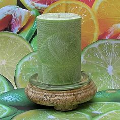 A handmade natural palm wax pillar candle scented with the fragrance Lime Cooler. This aromatic candle scent is a citrus and fruit blend that begins with notes of tart lime, refreshing orange, and crisp apple. The middle is a fruity floral of rose an Don't miss our fun home decor items at www.CreativeHomeDecorations.com