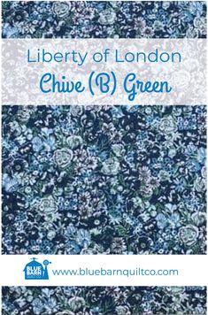 Liberty of London Fabrics Chive (B) Green - Blue Barn Quilt Co. Liberty Of London Fabric, Liberty Fabric, Longarm Quilting, Fat Quarters, Lawn, Blue Green, Fabrics, Ships, Canada