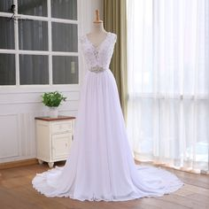 BEPEITHY Lace Top Chiffon Wedding Dress 2016 Vestido De Casamento Crystal Robe De Mariage Cheap Bridal Gowns Vestido De Novia