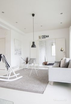 A simple interior of white and grey. Living Room Inspiration, Interior Inspiration, Ikea, Contemporary Interior Design, Simple Interior, Minimalist Interior, White Rooms, Scandinavian Home, Living Room Interior