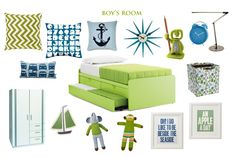 Mood board inspiration for a boy's room. Yellow Green and Blue.
