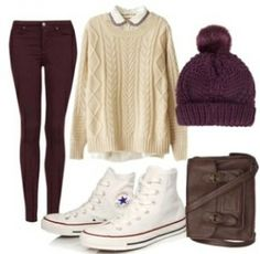 Outfit Idea #2 -White oversized swater with coller -Maroon colored pants -Maroon colored beanie -White hightop converse -Brown satchel