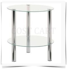 View item: SMALL GLASS ROUND TABLE 2 TIER CLEAR GLASS SIDE END TABLE CHROME FRAME BNIB