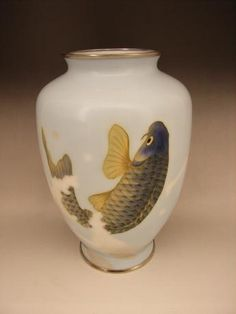 Japanese early 20th Century Cloisonné Koi design vase by Shobido.  (View One).