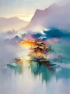 """""""If you See and Feel the beautiful glow in this painting, you are actually recognising and sensing that which is also within you."""" The Visionary ART Workshop. Painting by Hong Leung Art Amour, Landscape Art, Mountain Landscape, Love Art, Amazing Art, Watercolor Paintings, Watercolors, Painting Abstract, Acrylic Paintings"""