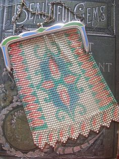 Gorgeous Antique Enameled Mesh Purse Signed Whiting by VintageEnvy, $130.00