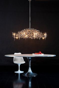 Flower Power Contemporary Chandelier in nickel finish. See more modern lighting collections and finishes at WWW. Luxury Lighting, Interior Lighting, Modern Lighting, Lighting Design, Custom Lighting, Lighting Ideas, Home Interior Design, Interior Designing, Metal Chandelier