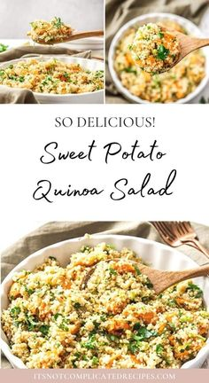 Learn how to make this delicious Sweet Potato Quinoa Salad. This gluten-free and vegan salad is flavoursome and so easy to prepare. Ideal lunch or side dish. Head to the blog to get more details and the recipe. Sweet Potato Quinoa Salad #quinoasalad #quinoarecipes #glutenfreesalad #sweetpotatorecipes #saladrecipes #easyrecipes #appetizerrecipes #itsnotcomplicatedrecipes #cravecookconsume itsnotcomplicatedrecipes.com Appetizer Recipes, Salad Recipes, Sweet Potato Quinoa Salad, Sweet Potato Recipes, Light Recipes, Side Dishes, Easy Meals, Cooking Recipes, Gluten Free