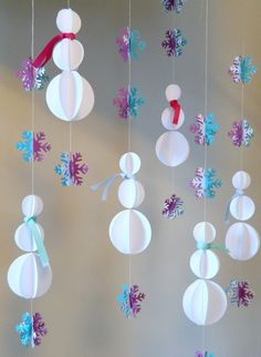 Paper Garland / 3D Snowman Decoration/Frozen Birthday Decor / Classroon Decor / Snowflake Garland/ Photo Prop/ Christmas Decorations on Etsy, $19.50