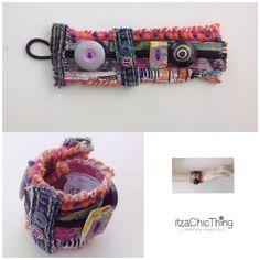 Unique Artsy Fun Mixed Media Cuff Bracelet by itzaChicThing
