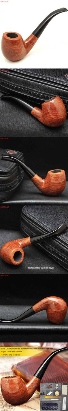 MUXIANG 10 Smoking Tools Kit Handmade Imported Rosewood Tobacco Pipe Cigarette Bent Style Pipe Masculine Gift Factory ad0006