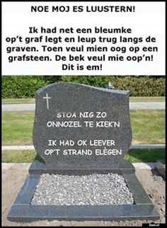 Stao nig zo onnozel te kiek'n! Ik had ok leever op't strand elègen Sarcastic Quotes, Funny Quotes, Mind Body Soul, Funny Cartoons, Funny Moments, Funny Things, Funny Stuff, Christmas Humor, Adult Humor