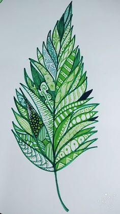 Leaf doodle......I used some coloured gel pens and thin tip markers