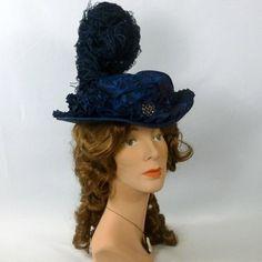 Victorian Style Hat Blue-Black-1800s 1900s- taffeta - Ostrich Feathers -  re-enactors - SASS - Civil War - Costumers - Victorian teas 9a6173f415b