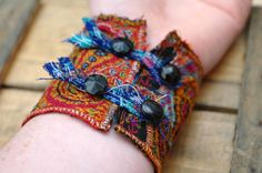 Indian Embroidery Cuff Bracelet tribal jewellery by PippinRunWild, £15.00