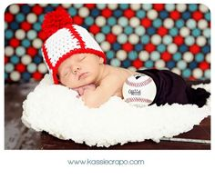 Crochet Baseball Beanie Hat for Babies and Children, Photo Prop. $18.99, via Etsy.