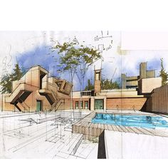 Architectural Sketches, Hand drawings, Architecture: