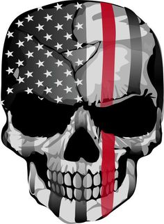 Thin Red Line Decal - Punisher American Flag Firefighter Red Line Decal #JakeDesigning