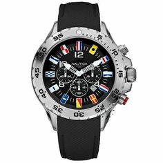NAUTICA NST Chronograph Flag Black Leather Strap