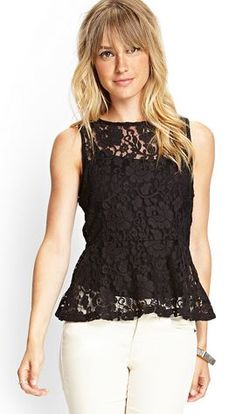 Sheer Floral Net Peplum Top - Forever21