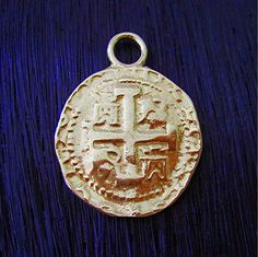 Gold Bronze Spanish Coin Replica Charm and by VDIJewelryFindings