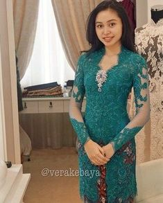 58 ideas for diy fashion dresses fabrics Vera Kebaya, Kebaya Lace, Kebaya Brokat, Batik Kebaya, Dress Brokat, Kebaya Dress, Batik Dress, Lace Dress, Kimono