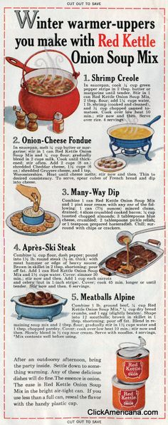 Winter warmer-uppers with onion soup (1965)