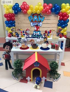 Ideas para Fiestas infantiles: 60 ideas de decoración para fiesta de PAW Patrol o Patrulla canina Paw Patrol Birthday Decorations, Paw Patrol Birthday Theme, Paw Patrol Balloons, Paw Patrol Cake, Paw Patrol Pinata, 4th Birthday Parties, Birthday Ideas, 3rd Birthday, Puppy Party