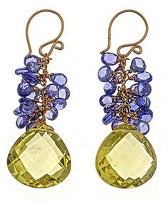 Calico Juno Tanzanite Lemon Topaz Earrings. nice yellow-y green..
