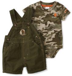 Amazon.com: Carhartt Baby-boys Infant Washed Short Sleeve Printed Shortall Bib: Clothing