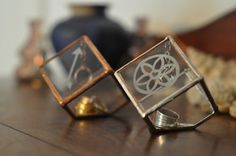 """Stained Glass Ring Holder Glass Display Box by ABJglassworks Measurements: Width: 3"""" Height: 3"""" Depth: 3 1/4"""""""