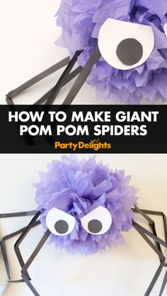 Try this easy Halloween craft for kids - all you need is some purple pom poms and cardboard to make these giant pom pom spiders! An easy DIY Halloween decorations that will definitely impress your guests at your Halloween party!