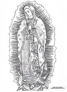 Religious line art on Pinterest | Catholic, Virgen De Guadalupe ...