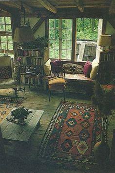 cabin, living room, bookshelves, patterned rug