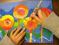 Fifth grade students are learning about the Austrian artist Friedensreich Hundertwasser. We talked about how he lived through the second World War in Vienna, and how that affected his view of life. He remembers the craters that the bombs had left in the city, and how the rain filled them, and small life emerged from them eventually. We talked about how flowers can stand for the re-emergence of life in the spring after the long winter. We also looked at many of Hundertwasser's paintings and…