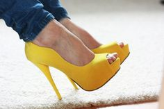Sexy Yellow Pumps with Peep Toe Yellow High Heels, Yellow Pumps, Zapatos Shoes, Shoes Heels, Crazy Shoes, Me Too Shoes, Stilettos, Stiletto Heels, Talons Sexy
