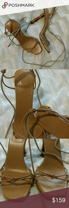 """FINAL DROP 🎋Gucci Bamboo Heel Gladiator Sandal Rare and authentic GUCCI  MADE IN ITALY Bamboo Heel Leather Sandal with gladiator lace up style leather strings.  These are in fabulous condition! The leather is still very nice and very light wear to the bottoms and heels. LEATHER TYE UP STRINGS are not original. When I purchased these beauties they had very damaged leather strings so I purchased replacement leather strings myself that are 45"""" and tan. The tan strings are slightly a lighter…"""