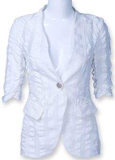 White Half Sleeve Folds One Button Fit Blazer