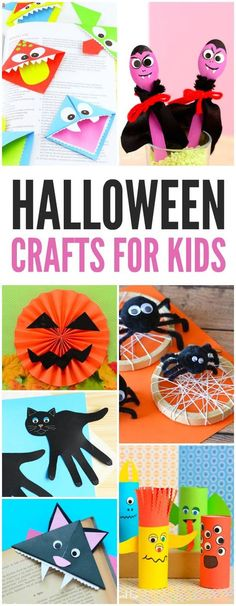 Fun Halloween Craft for Kids~ Make spider webs, black cats, smiley monster and pumpkin faces! Great ideas for Halloween crafts with kindergarten and first grade kids!