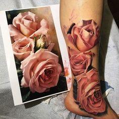 Beautiful Realistic Rose Tattoo's