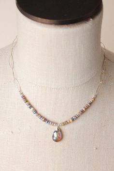 "Love at first sight - this handmade necklace features a gemstone pendant on a sterling silver and gemstone chain. Amethyst, czech glass Sterling silver wire (lead and nickel-free) 17"""" length Our uniq"
