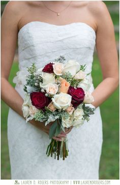 red, ivory, and peach bridal bouquet, classic wedding bouquet, wedding flower inspiration, vintage style bridal bouquet, floral inspiration celebrations at the reservoir wedding photos by Lauren D. Rogers Photography www.laurendrogers.com