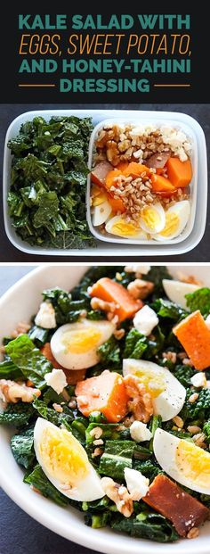 TUESDAY: Kale Salad with Eggs, Sweet Potato, and Honey-Tahini Dressing | Here's How To Pack 5 Make-Ahead Healthy Lunches
