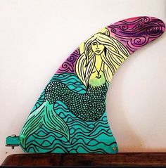 Hand painted surfboard longboard fin  mermaid by wonderlandavenue, $40.00